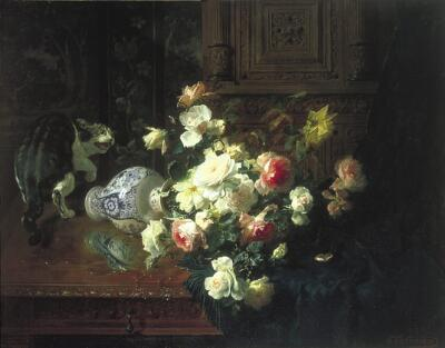 Floral Still Life with a Cat