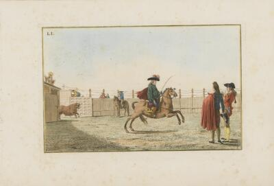 Collection of Principal Moves in a Bullfight: The Baliff Withdraws and the Picador Takes His Place As the Bull Enters the Ring