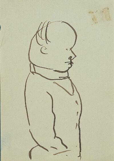 Self-Caricature in Profile, Hand in Pocket