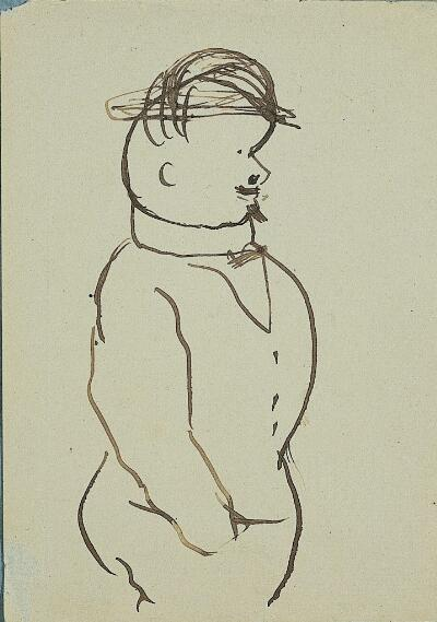 Self-Caricature in Profile, with Hat