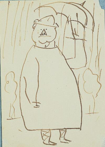 Self-Caricature, with Triangle Nose, Standing in Rain
