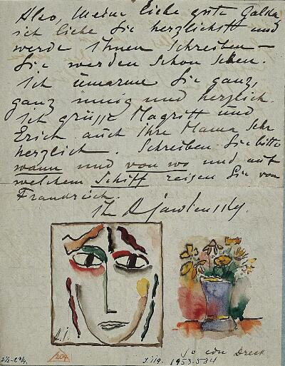 Head with Open Eyes and Vase of Flowers