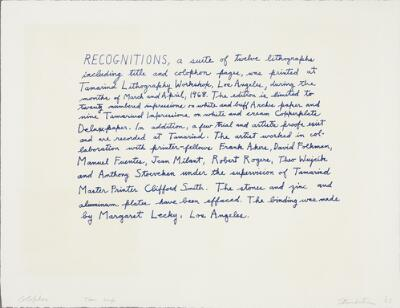 Colophon (Recognitions XII)