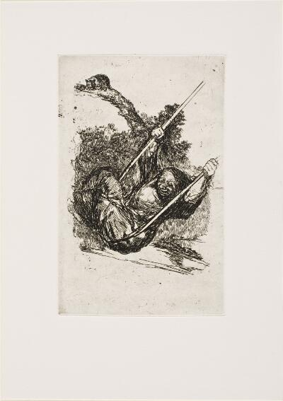 The Bordeaux Etchings: Late Caprichos of Goya: After Goya: Witch on a Swing/ Old Woman on a Swing, Plate A verso