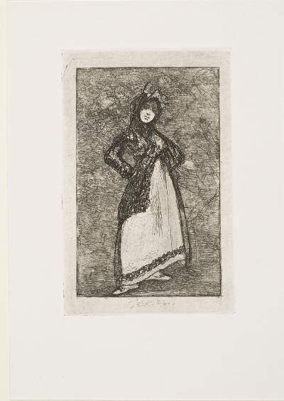 The Bordeaux Etchings: Late Caprichos of Goya: Maja against a Background with Demons/ Maja—dark background