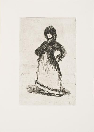 The Bordeaux Etchings: Late Caprichos of Goya: After Goya: Maja / Maja—light background, Plate C verso