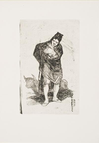 The Bordeaux Etchings: Late Caprichos of Goya: After Goya: Andalusian Smuggler, with Bull / The Old Bullfighter, Plate E verso