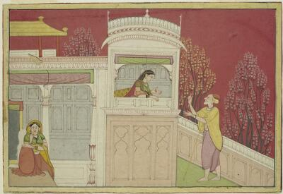 Illustration from an Abduction of Rukmini Series: Rukmini and the Messenger