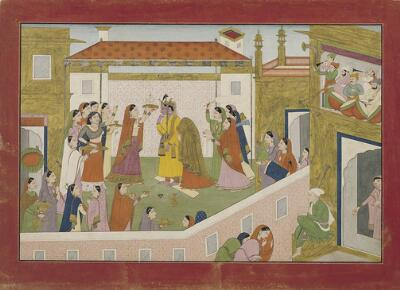 Illustration from an Abduction of Rukmini Series: The Marriage of Krishna and Rukmini