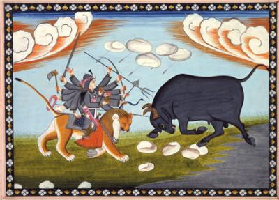 Illustration from a Devimahatmya: Durga Engages the Buffalo Titan