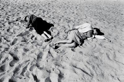 Untitled (Santa Monica, Two Figures on Beach)